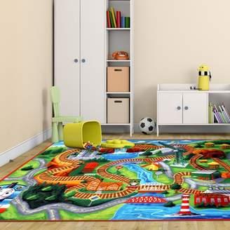 Thomas Laboratories G.A. Gertmenian & Sons Hit Polyester Orange/Green Kids Rug