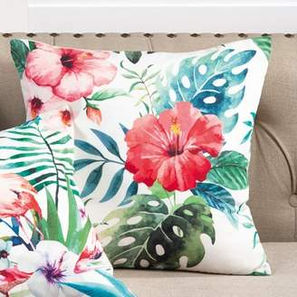 Bay Isle Home Sherwick Hibiscus Floral Tropical Print Indoor/Outdoor Throw Pillow