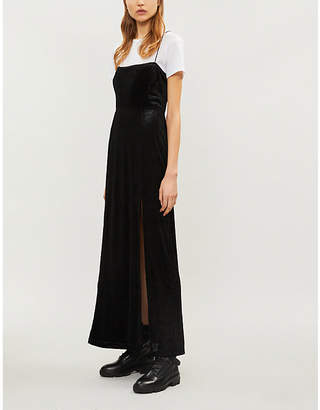 Free People All I Need split-hem ribbed velvet maxi dress