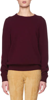 The Row Olive Crewneck Long-Sleeve Cashmere Sweater