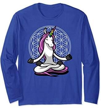 Unicorn Shirt Long Sleeve Magical Flower Of Life Zen Gift