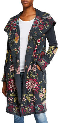 Johnny Was Khan Hooded Floral-Embroidered Duster