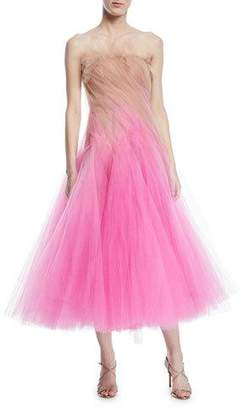 Oscar de la Renta Strapless Tulle Cocktail Dress