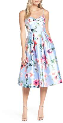 Eliza J Floral Print Satin Cocktail Dress
