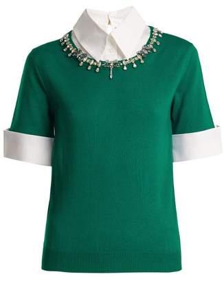 Mary Katrantzou Ella Crystal Embellished Wool Sweater - Womens - Green White