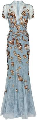 Jenny Packham Floral Sequin Lace Gown