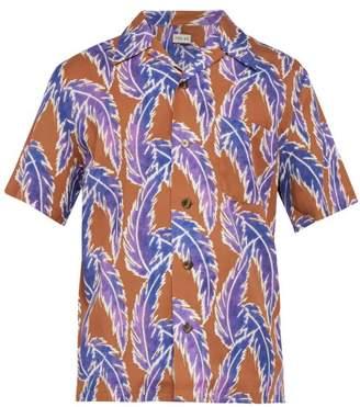 You As - Miles Leaf Print Short Sleeved Twill Shirt - Mens - Purple