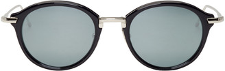 Thom Browne Navy & Silver TB 011 Sunglasses $650 thestylecure.com
