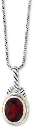 "Effy Garnet 18"" Pendant Necklace (3-9/10 ct. t.w.) in Sterling Silver & 18k Gold"