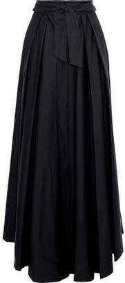 Milly Belted Pleated Cotton-Blend Poplin Maxi Skirt