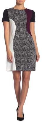 Taylor Mixed Fabric Shift Dress