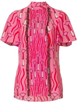 Valentino lipstick waves print top