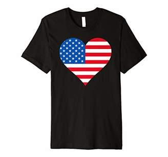 American Flag Heart Shaped 4th of July Patriotic USA Premium T-Shirt