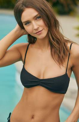 LA Hearts Black Maya Cinched Scrunchy Bikini Top