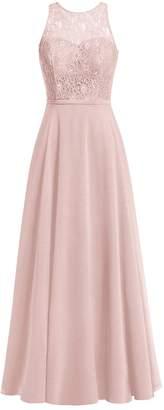 Cdress Chiffon Long Bridesmaid Dresses Lace Bodice Evening Gowns Wedding Prom Dress USW