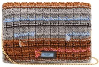 Prada Striped Knit Pouch - Womens - Grey Multi