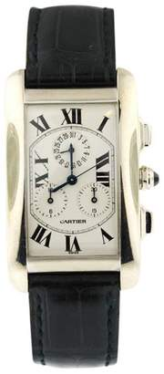 Cartier 2312 Tank Americaine 18K White Gold Rectangle White Face Black Crocodile Leather Band Womens Watch