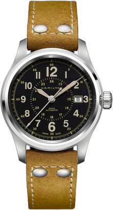 Hamilton Khaki Field Automatic Leather Strap Watch, 40mm