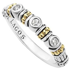 Women's Lagos Three Diamond Stacking Ring $595 thestylecure.com