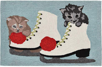 Liora Manné Liora Manne' Front Porch Indoor/Outdoor Skates And Kittens Ice 2' x 3' Area Rug