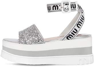 Miu Miu 80mm Nylon & Glitter Wedge Sandals