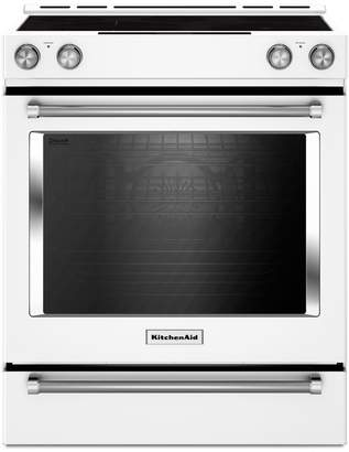 KitchenAid YKSEB900EWH - 30-Inch 5-Element Electric Convection Front Control Range with Baking Drawer - White