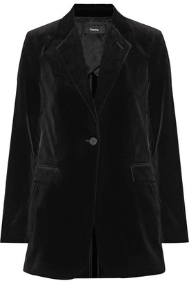 Theory - Berdyne B Stretch-cotton Velvet Blazer - Black $495 thestylecure.com