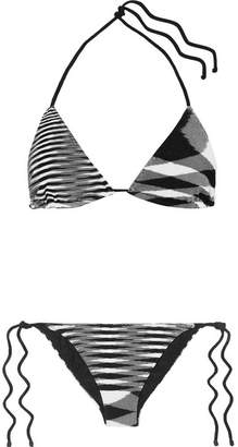 Missoni Mare Donna Striped Crochet-knit Triangle Bikini - Black