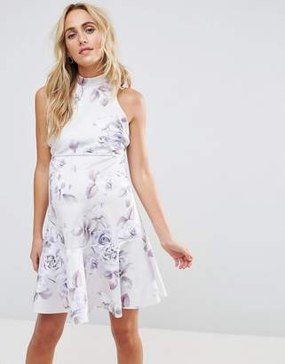 Asos Scuba Floral Lace Up Back Skater Mini Dress