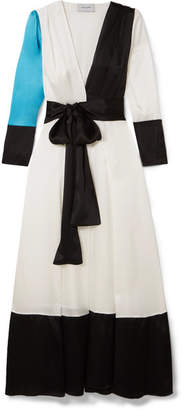 Leone we are Color-block Silk-charmeuse Robe - White
