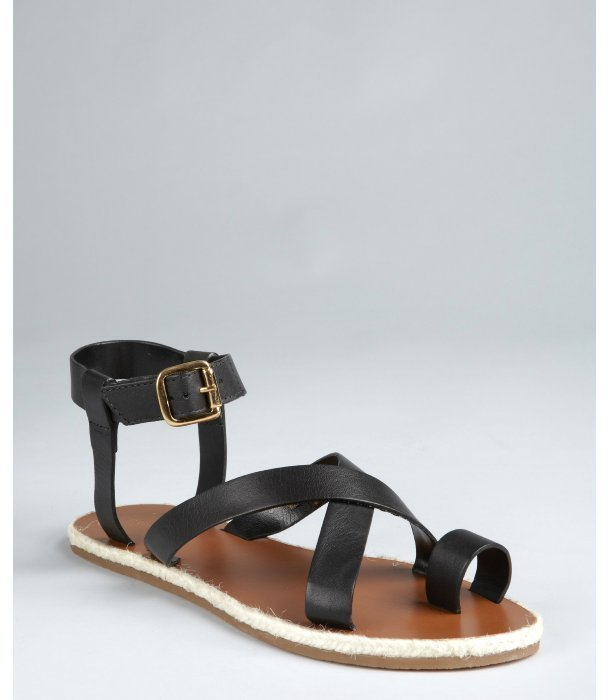 Madison Harding black leather 'Judd' strappy flat sandals