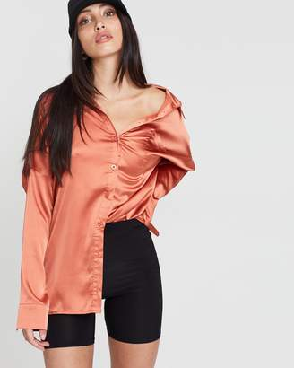 Missguided Satin Long Sleeve Button Front Shirt