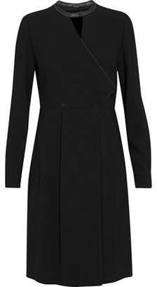 Elie Tahari Leather-Trimmed Cutout Crepe Dress