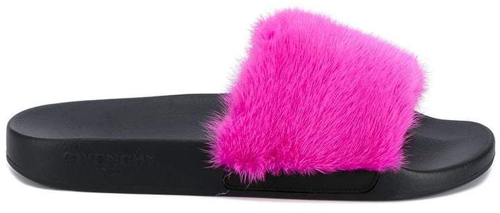 Givenchy Fuchsia Pink Fur Strap slides