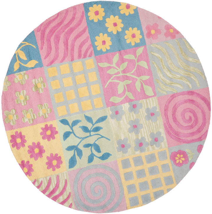 6' Round Multi Patterned Patchwork Rug