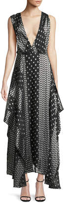 Diane von Furstenberg Draped Dot-Print Silk Maxi Dress