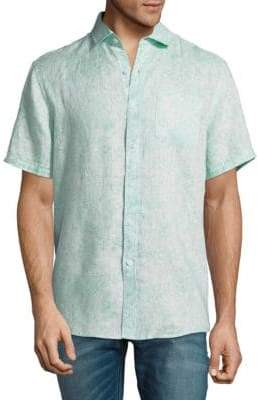 Saks Fifth Avenue Printed Linen Button-Down Shirt