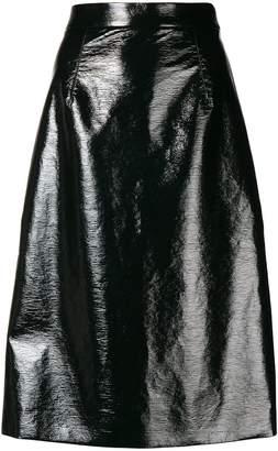 Mantu mid-length wet look skirt