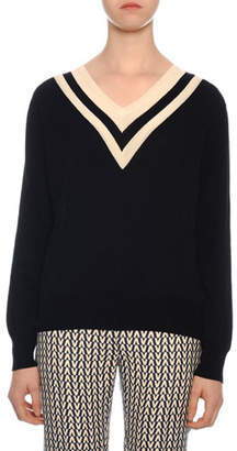 Valentino V-Neck V-Intarsia Long-Sleeve Wool Sweater