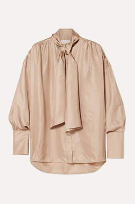 BEIGE REMAIN Birger Christensen - Halyn Pussy-bow Silk-satin Blouse