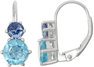 Sterling Silver Swiss Blue Topaz & Lab-Created Sapphire Double Drop Earrings