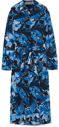 Michael Kors Printed Silk Crepe De Chine Midi Dress - Navy