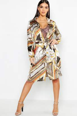 boohoo Chain Print Belted Woven Shirt Dress