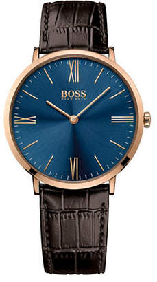 BOSS Analog Jackson Goldtone and Leather Strap Watch
