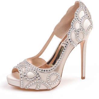 765f460fa589 Badgley Mischka Witney Embellished Peep-Toe Evening Pumps