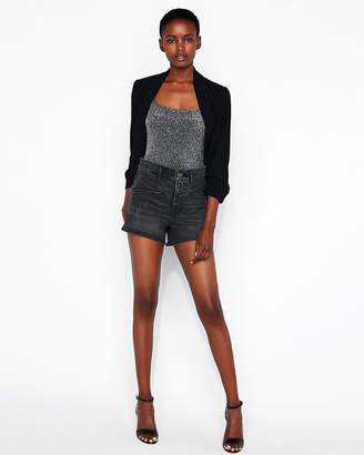 Express Square Neck Metallic Cami Thong Bodysuit