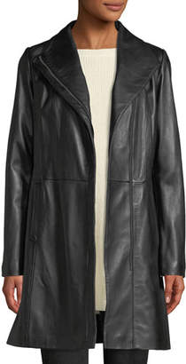 Cole Haan Lamb Leather Zip-Front Car Coat