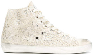 Leather Crown embroidered hi-top sneakers