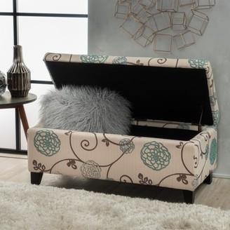 Noble House Hampton Floral Fabric Storage Ottoman