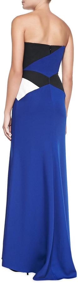 BCBGMAXAZRIA Audriana Strapless Colorblock Satin Gown